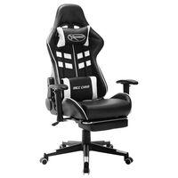 vidaXL Žaidimų kėdė su pakoja, juodos ir baltos spalvos, dirbtinė oda