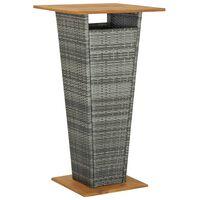 vidaXL Baro staliukas, pilkas, 60x60x110cm, poliratanas ir akacija