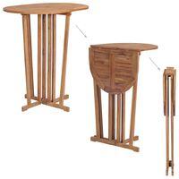 vidaXL Sulankstomas baro stalas, 100x65x105cm, tikmedžio med. masyvas