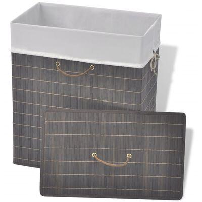 vidaXL Skalbinių krepšys, tamsiai ruda spalva, bambukas, kvadratinis