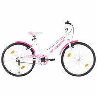 vidaXL Vaikiškas dviratis, rožinės ir baltos spalvos, 24 colių