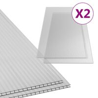 vidaXL Polikarbonato lakštai, 2vnt., 150x65cm, 6mm