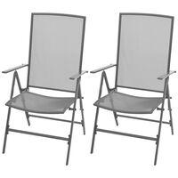 vidaXL Sudedamos sodo kėdės, 2 vnt, plienas, pilkos