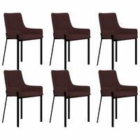 vidaXL Valgomojo kėdės, 6 vnt., vyno spalvos, audinys (3x282597)