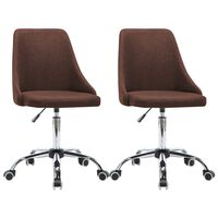 vidaXL Biuro kėdės su ratukais, 2vnt., rudos, audinys
