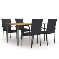 vidaXL Sodo valgomojo baldų komplektas, 5 dalių, juodas, poliratanas