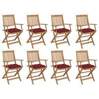 vidaXL Sulankstomos lauko kėdės su pagalvėlėmis, 8vnt., akacija