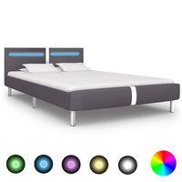 vidaXL Lovos rėmas su LED, pilkos spalvos, 120x200 cm, dirbtinė oda