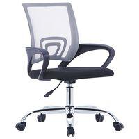 vidaXL Biuro kėdė su tinkliniu atlošu, pilkos spalvos, audinys