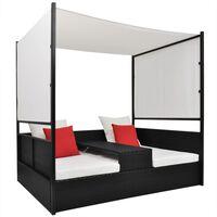 vidaXL Sodo gultas su skliautu, juodas, 190x130cm, poliratanas