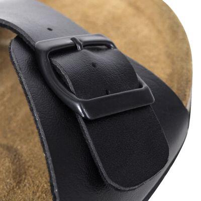 vidaXL Moteriški kamštiniai sandalai su sagtimi, juodi, 38 dydžio