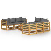 vidaXL Sodo poilsio baldų komplektas su pagalvėlėmis, 9 dalių, akacija