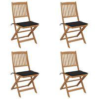 vidaXL Sulankstomos sodo kėdės su pagalvėmis, 4vnt., akacijos masyvas
