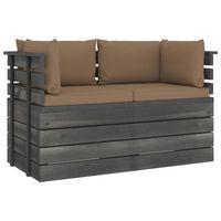 vidaXL Dvivietė sodo sofa iš palečių su pagalvėlėmis, pušies mediena