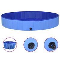 vidaXL Sulankstomas baseinas šunims, mėlynos spalvos, 300x40cm, PVC
