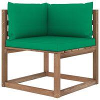 vidaXL Kampinė sodo sofa iš palečių su žaliomis pagalvėlėmis
