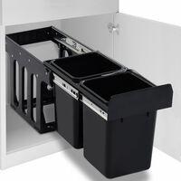 vidaXL Ištraukiama virtuvės spintelės šiukšliadėžė rūšiavimui, 20l