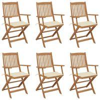 vidaXL Sulankstomos sodo kėdės su pagalvėmis, 6vnt., akacijos masyvas
