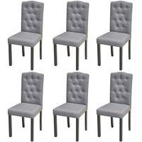 vidaXL Valgomojo kėdės, 6vnt., šviesiai pilkos spalvos, audinys