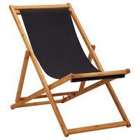 vidaXL Sulankstoma paplūdimio kėdė, juoda, eukaliptas ir audinys