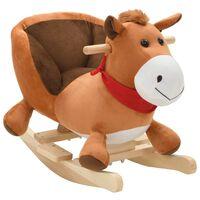 vidaXL Supamas gyvūnas su atlošu, arkliuk., pliušas, 60x32x50cm, rudas