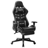 vidaXL Žaidimų kėdė su pakoja, juodos ir pilkos spalvos, dirbtinė oda