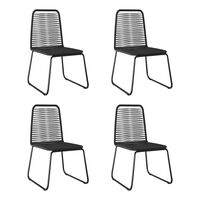 vidaXL Lauko valgomojo kėdės, 4vnt., juodos spalvos, poliratanas