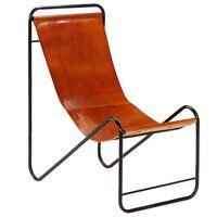vidaXL Kėdė, rudos spalvos, tikra oda
