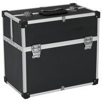 vidaXL Įrankių lagaminas, juodos spalvos, 43,5x22,5x34cm, aliuminis