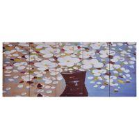 vidaXL Paveikslas ant drobės, įvairių spalvų, 150x60cm, gėlės vazoje