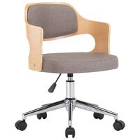 vidaXL Swivel Dining Chair Taupe Bent Wood and Fabric