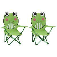 vidaXL Vaikiškos sodo kėdės, 2vnt., žalios spalvos, audinys