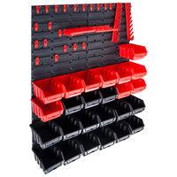 vidaXL Sandėliavimo dėžių rinkinys, 29 dalių, raudonas ir juodas