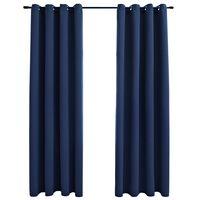 vidaXL Naktinės užuolaidos su žiedais, 2vnt., mėlynos, 140x175cm