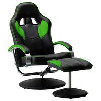 vidaXL Atlošiama žaidimų kėdė su pakoja, žalios spalvos, dirbtinė oda