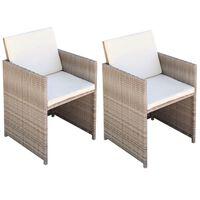 vidaXL Sodo kėdės, 2 vnt., su pagalvėlėmis, poliratanas, smėlio sp.
