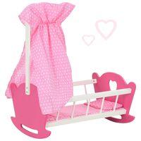 vidaXL Žaislinė lovytė lėlei su skliautu, rožinė, 50x34x60cm, MDF