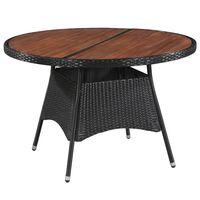 vidaXL Sodo stalas, 115x74cm, poliratanas ir akacijos med. masyvas