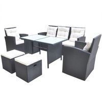 vidaXL Lauko valgomojo baldų kompl. su pagalv., 6d., juod., polirat.