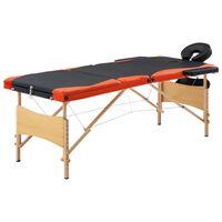vidaXL Masažinis stalas, juodas ir oranžinis, mediena, 3 zonų