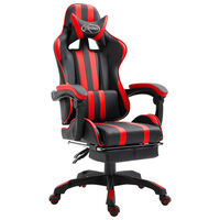 vidaXL Žaidimų kėdė su atrama kojoms, raudona, dirbtinė oda