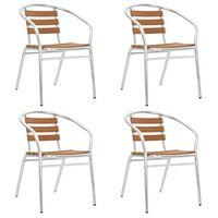 vidaXL Sudedamos sodo kėdės, 4vnt., sidabrinės, aliuminis ir WPC