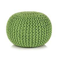 vidaXL Rankomis megztas pufas, medvilnė, 50x35cm, žalias