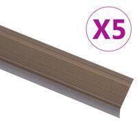 vidaXL Profiliai laiptams, 5vnt., rudi, 90cm, aliuminis, L formos