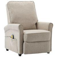 vidaXL Atlošiamas masažinis krėslas, kreminės spalvos, audinys