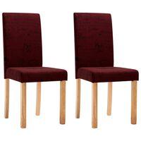 vidaXL Valgomojo kėdės, 2 vnt., raudonojo vyno spalvos, audinys
