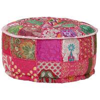vidaXL Pufas, rožinis, 40x20cm, medv., apvalus, rankų darbo, skiaut.