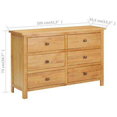 vidaXL Komoda su stalčiais, 105x33,5x73cm, ąžuolo medienos masyvas
