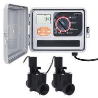 vidaXL Sodo laistymo sistemos valdiklis su 2 solenoido vožtuvais