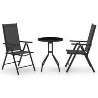 vidaXL Bistro baldų komplektas, 3d., juodas, aliuminis ir tekstilenas